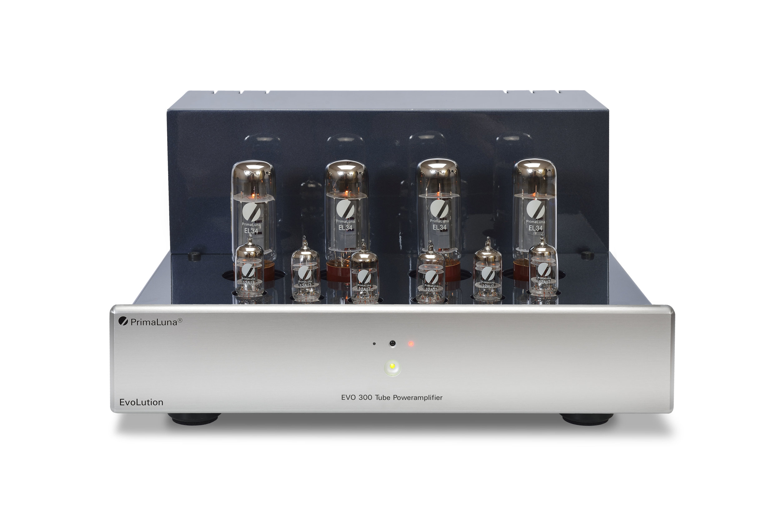 034b - PrimaLuna Evo 300 Tube Poweramplifier - silver - front - without cage - white background.jpg