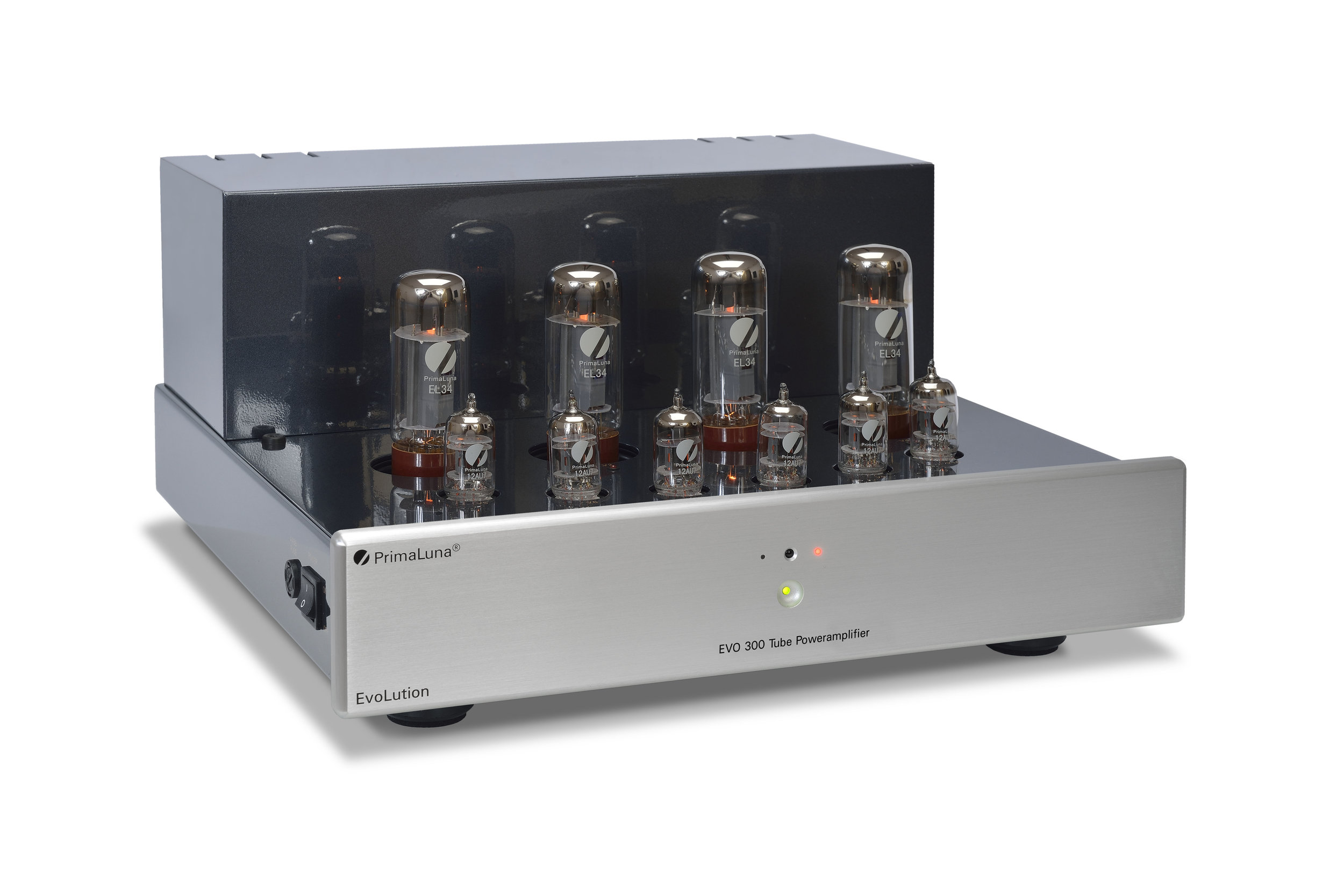 036b - PrimaLuna Evo 300 Tube Poweramplifier - silver - slanted - without cage - white background.jpg