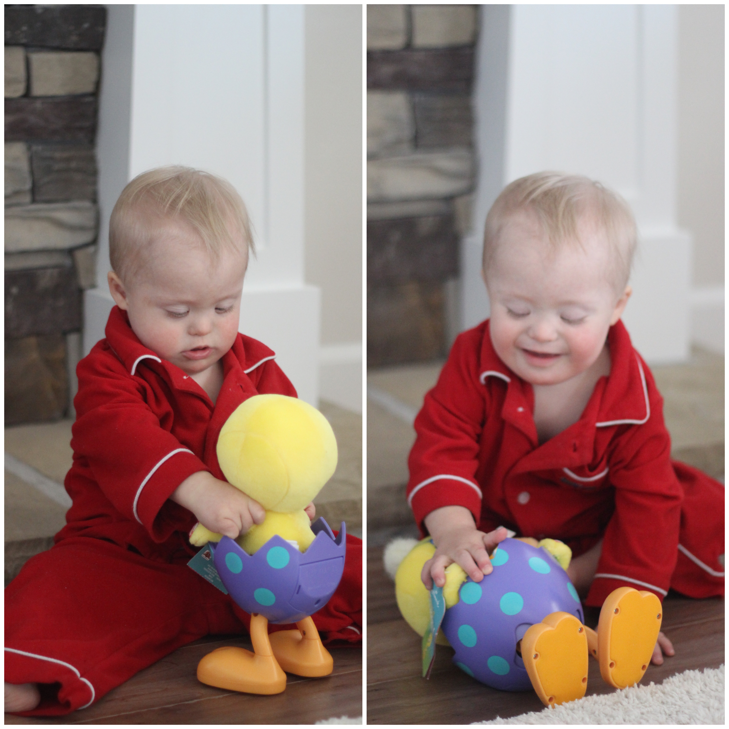 Welles' favorite toys are obnoxious ones that make a lot of noise. You're welcome my boy... A loud, Tweety Bird, music making toy. Ear plugs, please. Also, we wear Christmas PJ's for all holidays... New tradition ;)