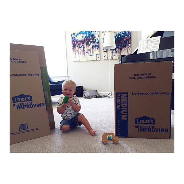 He's not the most helpful packer, but..... Definitely a cute distraction. 💙 Remind me to never move again! 😝 Getting ready to pack our family into a tiny little rental for seven (or so) months of adventure, while we await our new build. #moving #littlehelper #nothingdownaboutit