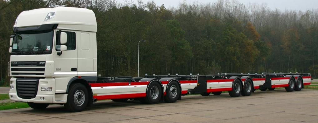 Wisselsysteem - roadtrain met drie opleggers