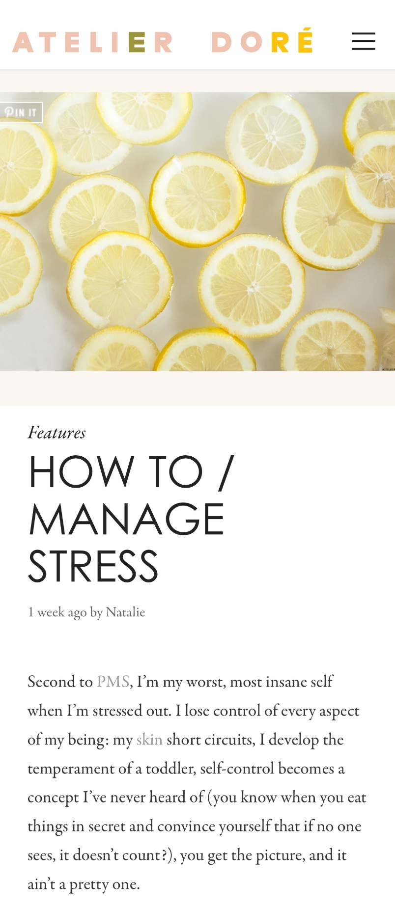 ATELIER DORE : HOW TO / MANAGE STRESS