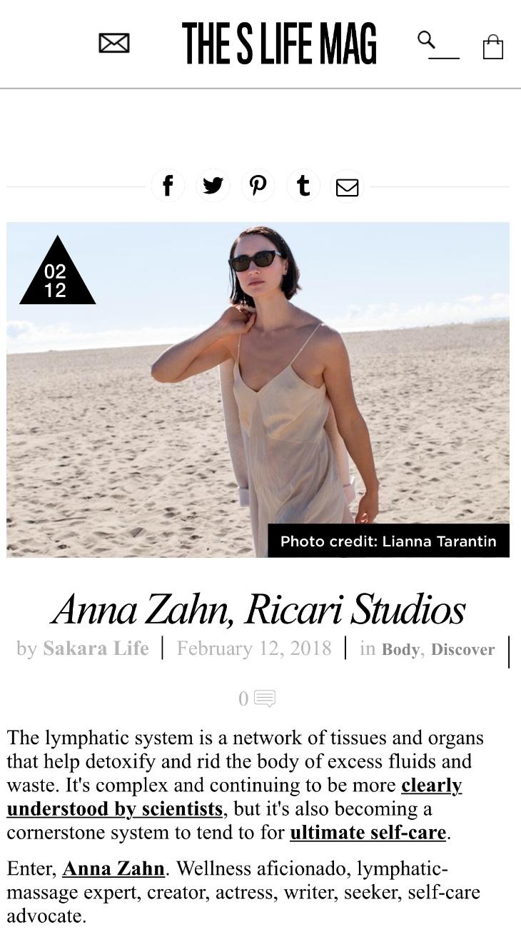 S LIFE MAG: ANNA ZAHN, RICARI STUDIOS
