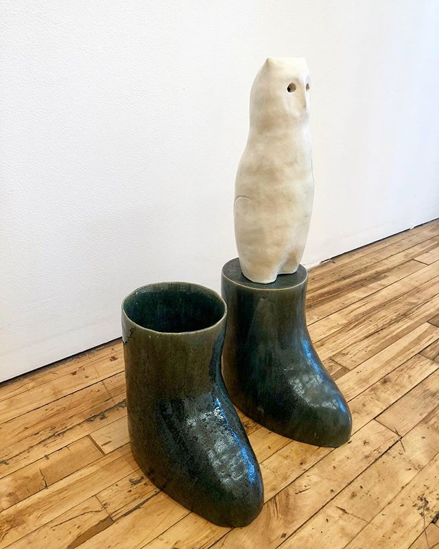 Congrats to @wadetullier on a beautiful opening @devening_projects . If the boots were real jade 😋 super cool glazing ... ... ... #artist #crazyglaze #ceramic #opening #show #oil #glazing #colorful #matte #green #sculpture #art #chicago @cranbrook_art