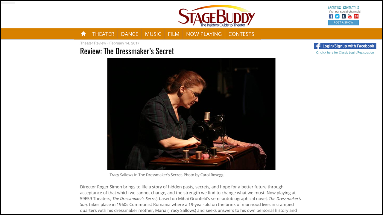 Review: The Dressmaker's Secret  STAGE BUDDY