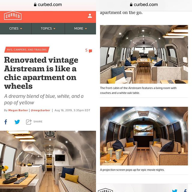 Loretta has arrived! Found her featured in Curbed Magazine.  #getintheloupe  #airstreamrenovation  #loupeinterview  #curbed