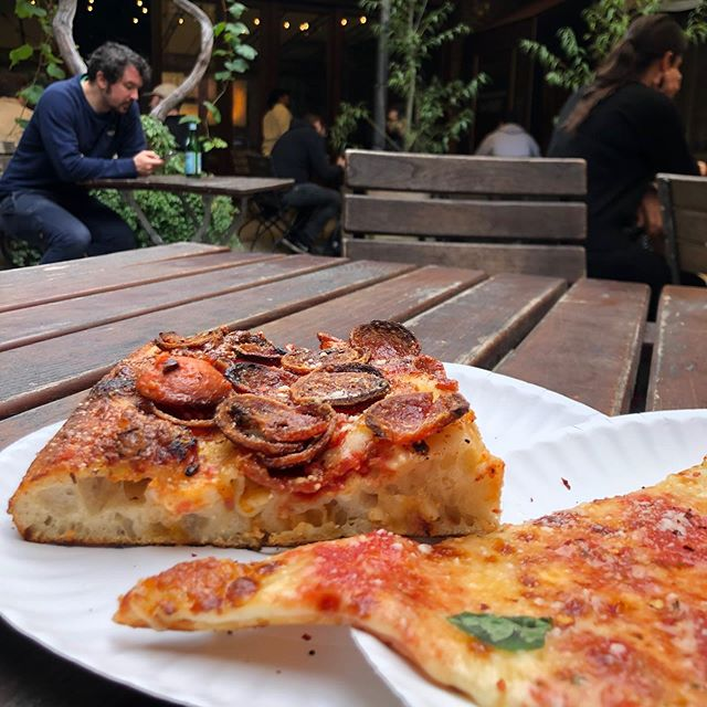 Found in Carroll Gardens, slice shop opened by the Franks (of Frankie 457 Spuntino fame). Grab a slice and sit in the garden. Closes each day when the dough runs out! #getintheloupe #pizzanyc