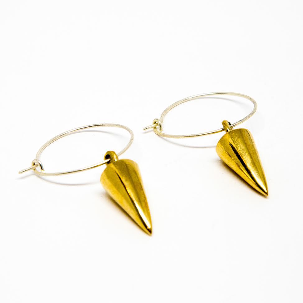Spike Hoop Earrings Brass Silver - £20.00.jpg