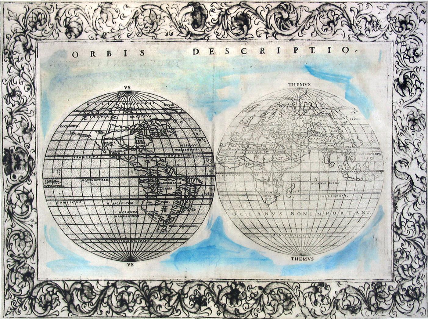 "Their World, too;  monoprinted intaglio; 11 x 15.5""; 2009"