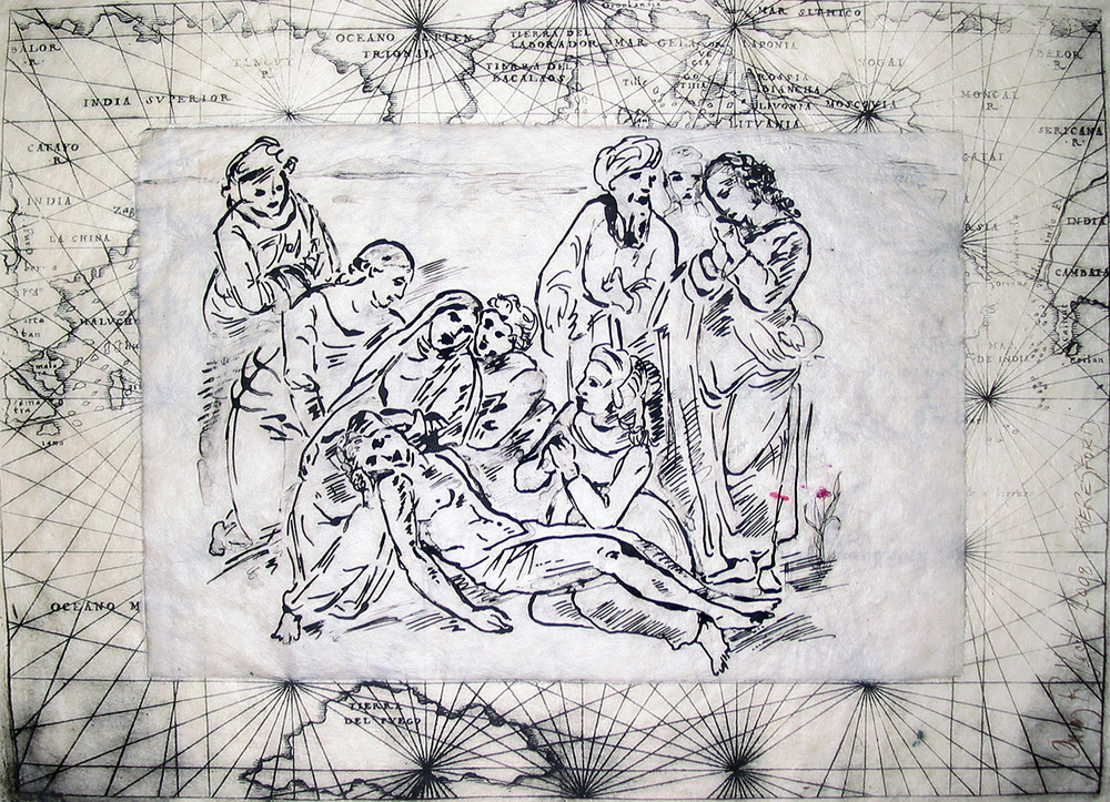 """Only Connect (Baghdad Pieta)"" (after Raphael);  intaglio collage; 11.75 x 16"""