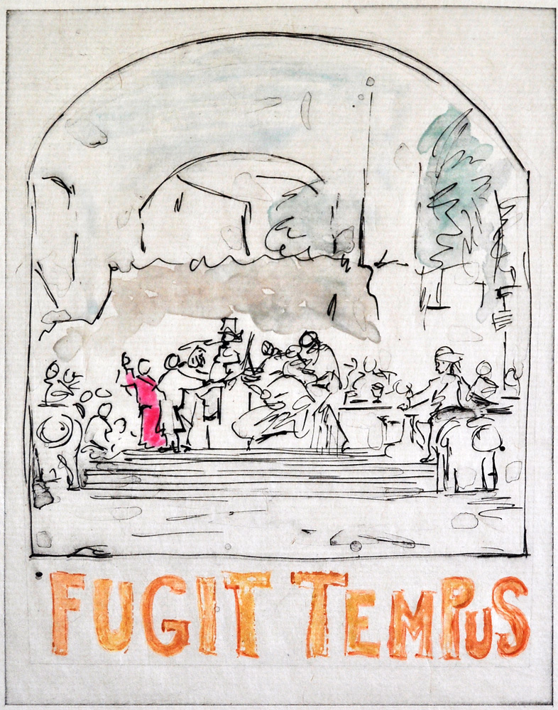 """Fugit Tempus;  13 x 9""""; monoprinted intaglio"""