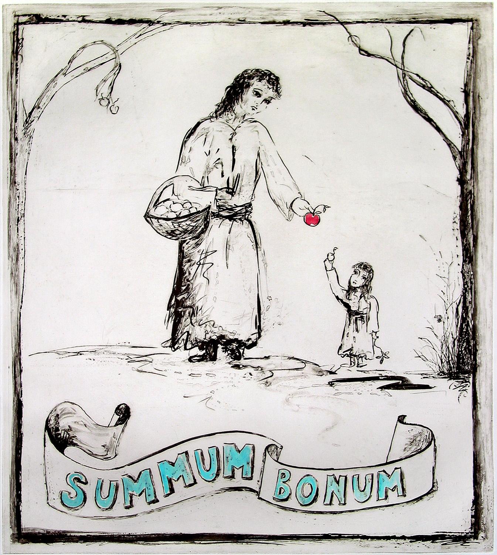 """Summum Bonum ; intaglio with gouache; 18 x 14.5""""; e.v. 17; 2009-17"""