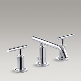 PURIST®  Widespread bathroom sink faucet with low lever handles and low spout  K-14410-4-CP