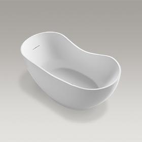 "ABRAZO™  66"" x 32"" cast acrylic freestanding bath with center toe-tap drain  K-1800-HW1"