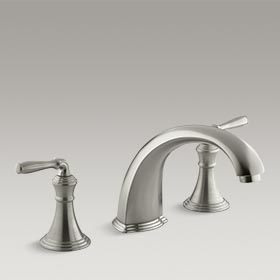 DEVONSHIRE®  Deck-mount bath faucet trim with non-diverter spout and lever handles  K-T398-4-BN