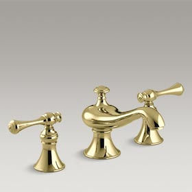 REVIVAL®  Widespread bathroom sink faucet with traditional lever handles  K-16102-4A-PB
