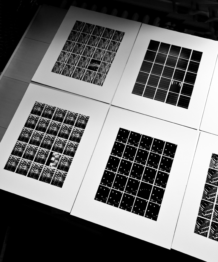 "Each piece 25 single 2x2.5"" gelatin silver prints  Handmade and mounted on 16x20"" museum board  Edition: 3 variants"