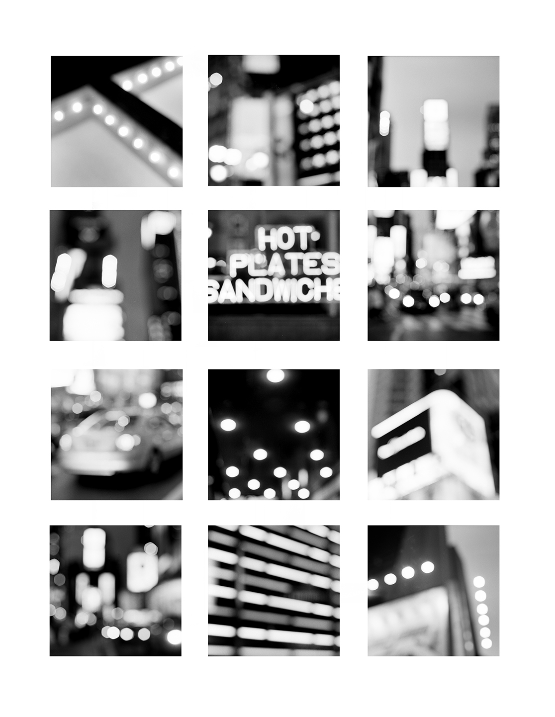 """The Lights on Broadway, Times Square,"" New York City, 2007     Twelve 4x4"" handmade gelatin silver prints in a 20x24"" 8 ply matt"