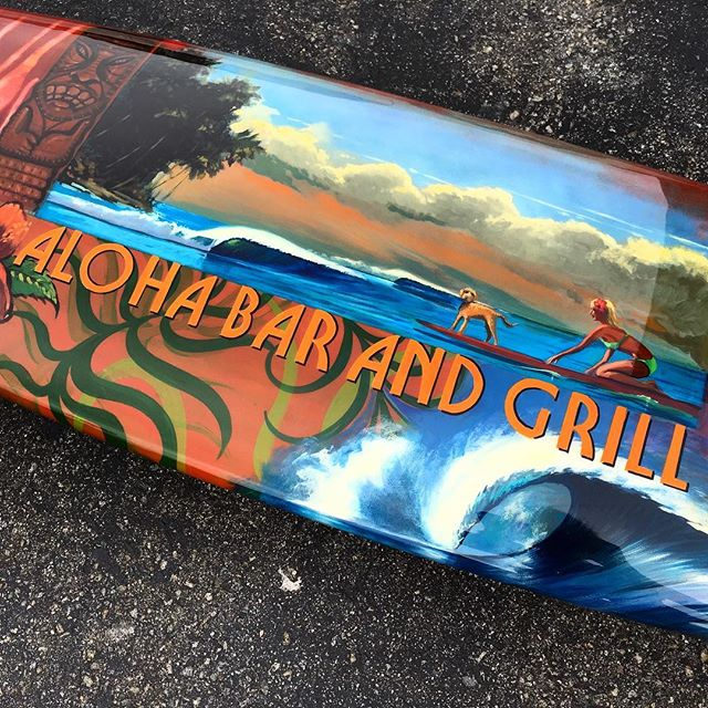 💎glossed and polished painted sign for aloha bar and grill @oceanartbykoniakowsky