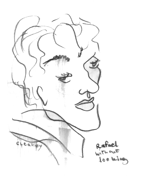 Rafael Without Looking   Blind contour charcoal drawing of Rafael who was a fellow that taught me how to latin dance at the Toronto club, El Convento Rico, 1997.