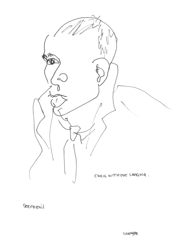 Chris Without Looking   Blind contour of a movie extra on the Molly Shannon film, Superstar in 1998.