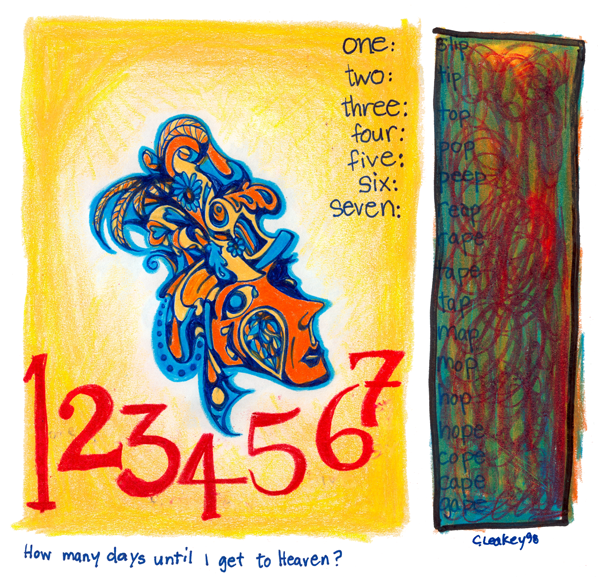 1234567 How many days until I get to Heaven?   1998 ink and coloured pencils on paper
