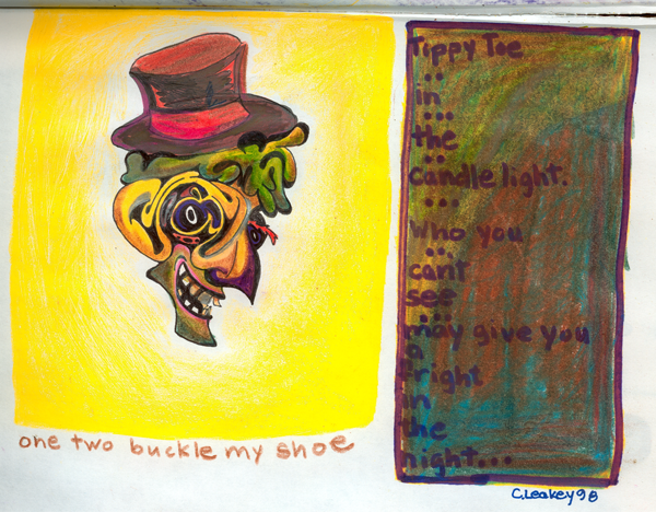 One Two Buckle My Shoe   1998 ink and coloured pencils on paper