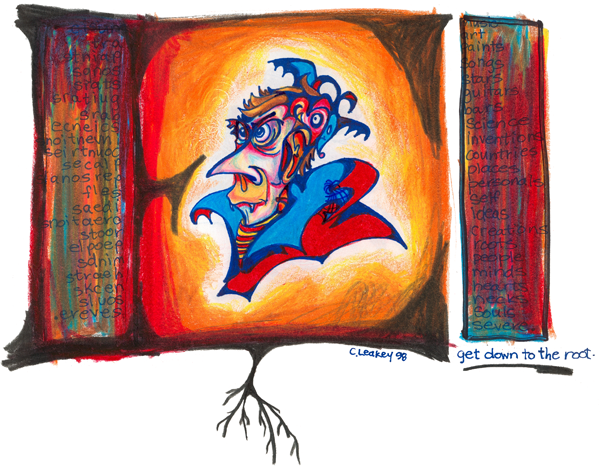 Get Down To The Root   1998 ink and coloured pencils on paper