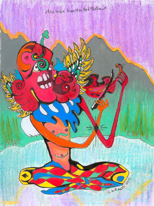 Red Violin   1998 ink and coloured pencils on paper