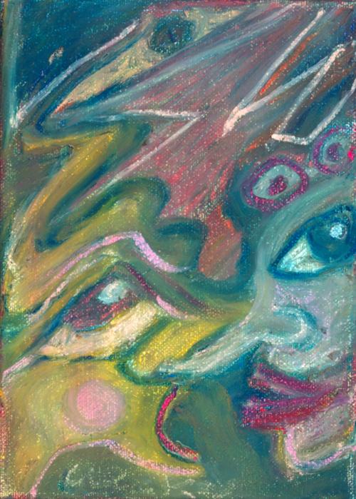 Alien   1998 oil pastel on canvas