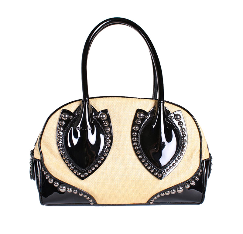 <b>Our price $1499</B>, regularly $3625<br>Azzedine Alaia Woven and Patent Handbag
