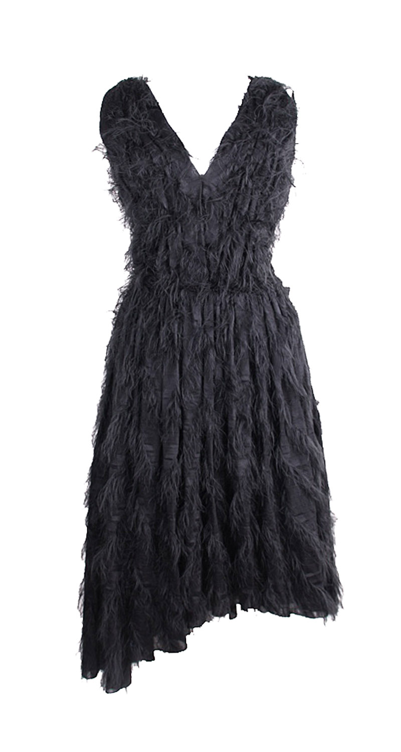 <b>Our price $299</b>, regularly $1500<br>Cedric Charlier Feather Dress