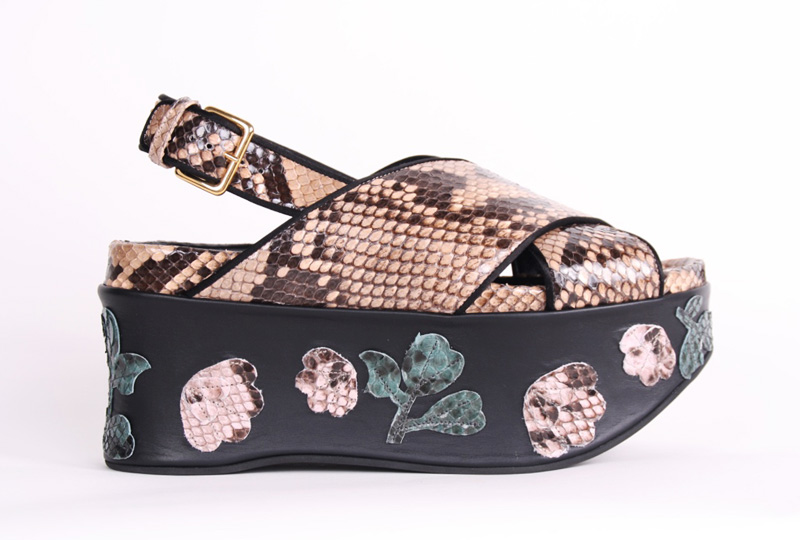 <b>Our price $199</b>, regularly $1560<br>Marni Python Wedge Sandals