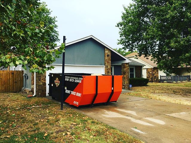 Need a dumpster? Give us a call @ 918-973-2046. Very convenient for home clean outs! #ocjh #oncalljunkhaul #tulsa #Godisgood