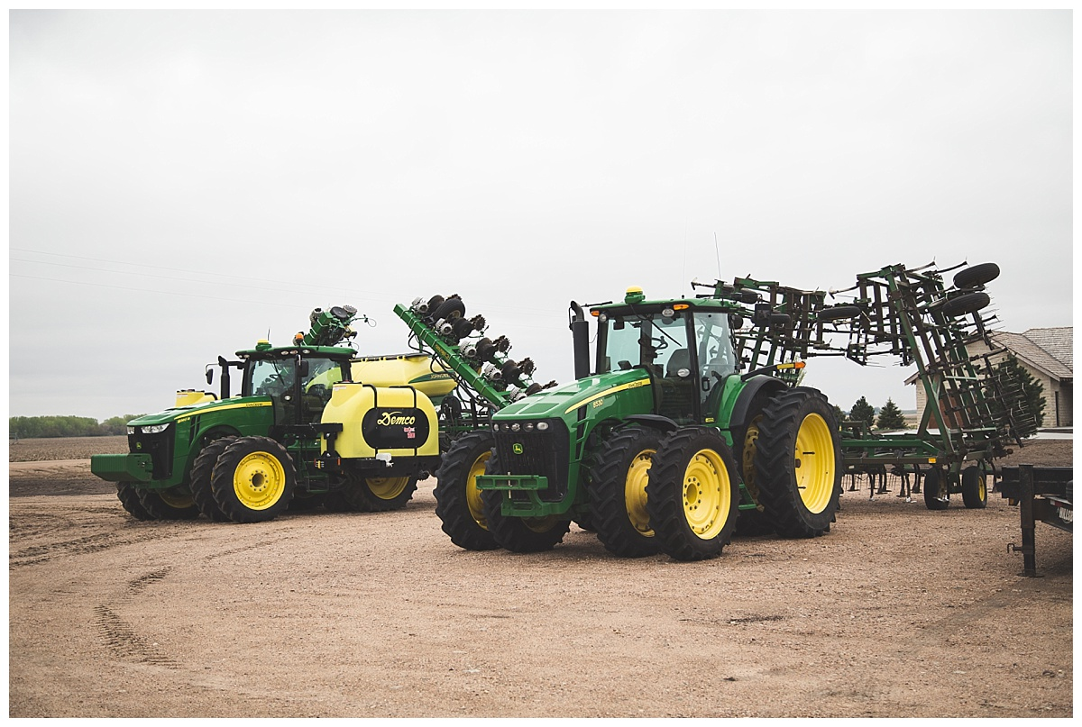 John Deere tractors ready for planting