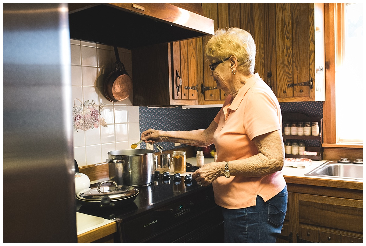 grandma making curry and rice