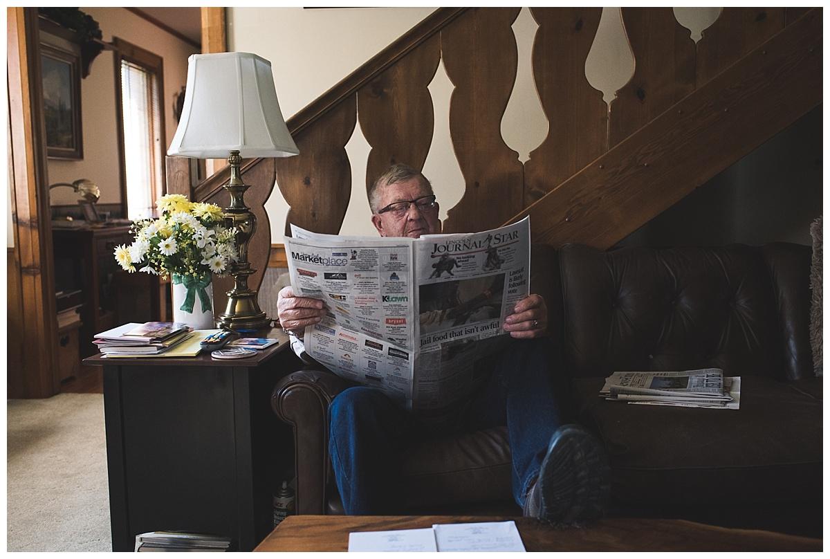 documentary//grandpa reading newspaper