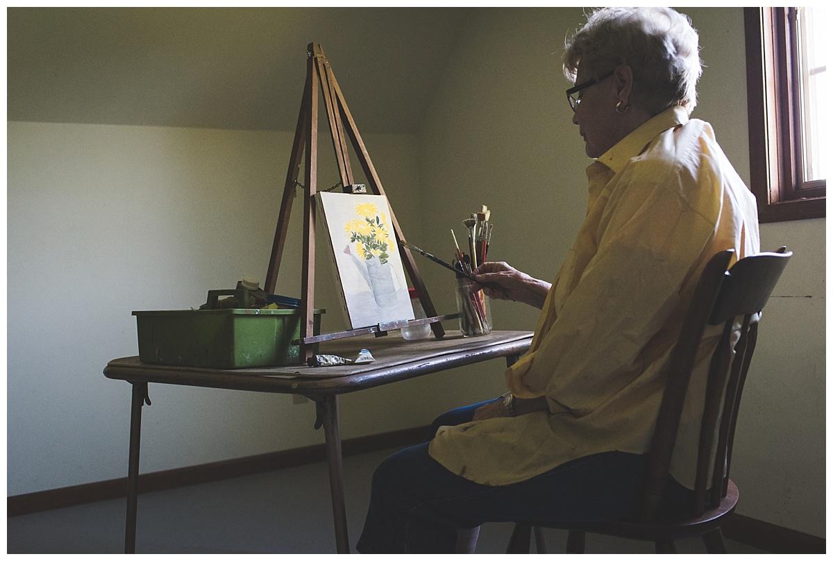 documentary//grandma painting in attic