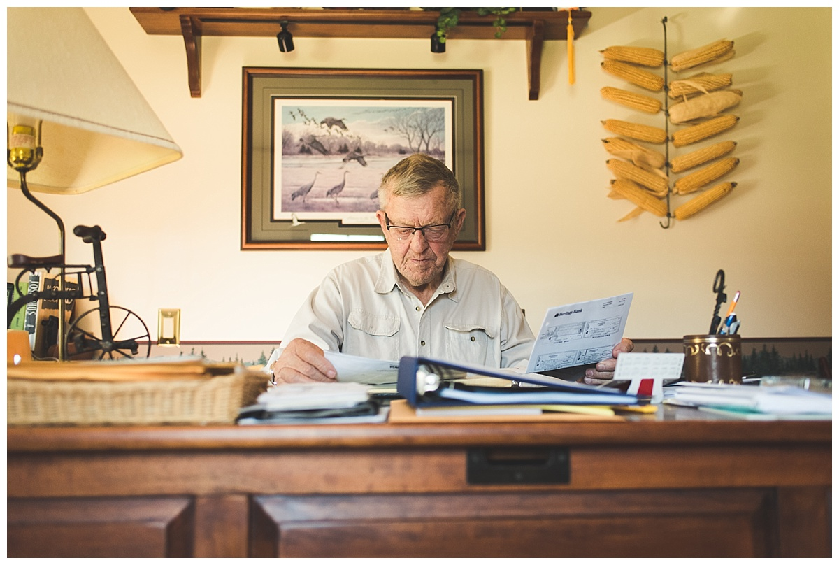 documentary photography//grandpa working at desk