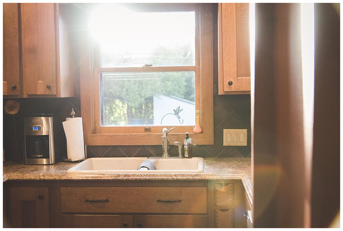 light hitting kitchen sink