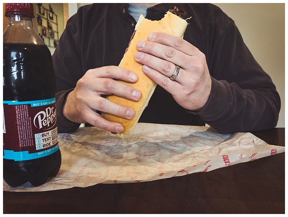 12:11 pm // Curtis' favorite lunch: Jimmy Johns and a Dr. Pepper.