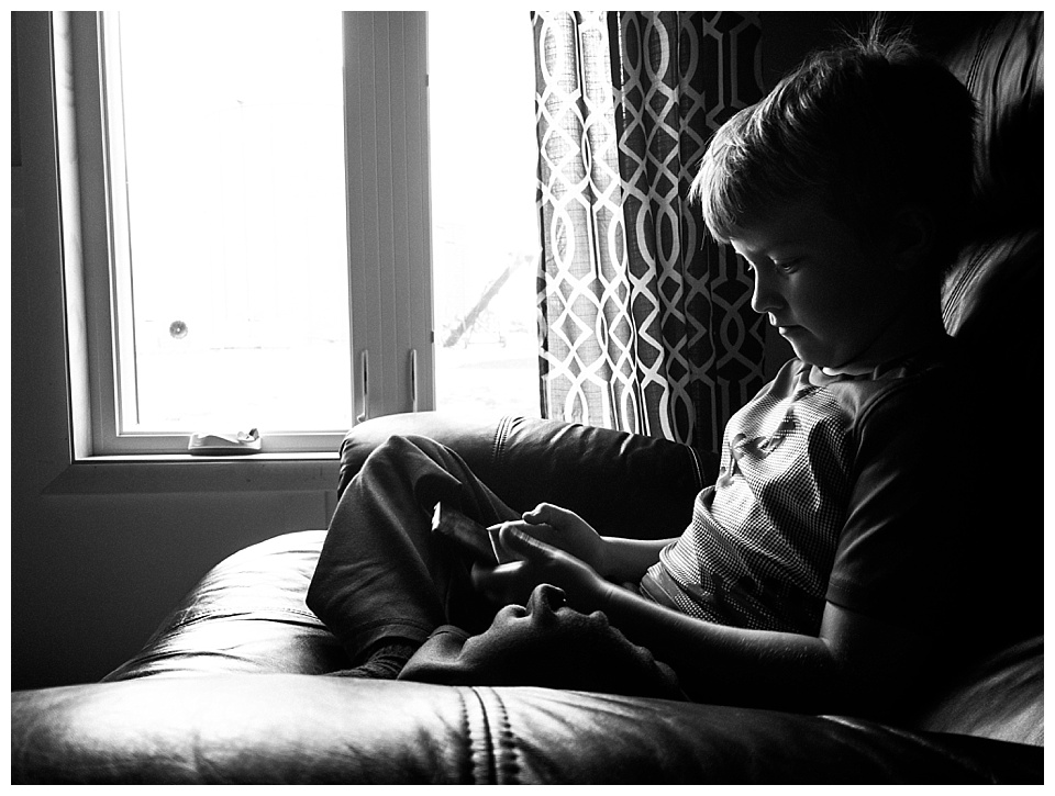4:35 pm // The big kids are home from school and they grab a snack and immediately run to play their Kindles. The only one not fine with this is the youngest...all she wants is someone to play with her.