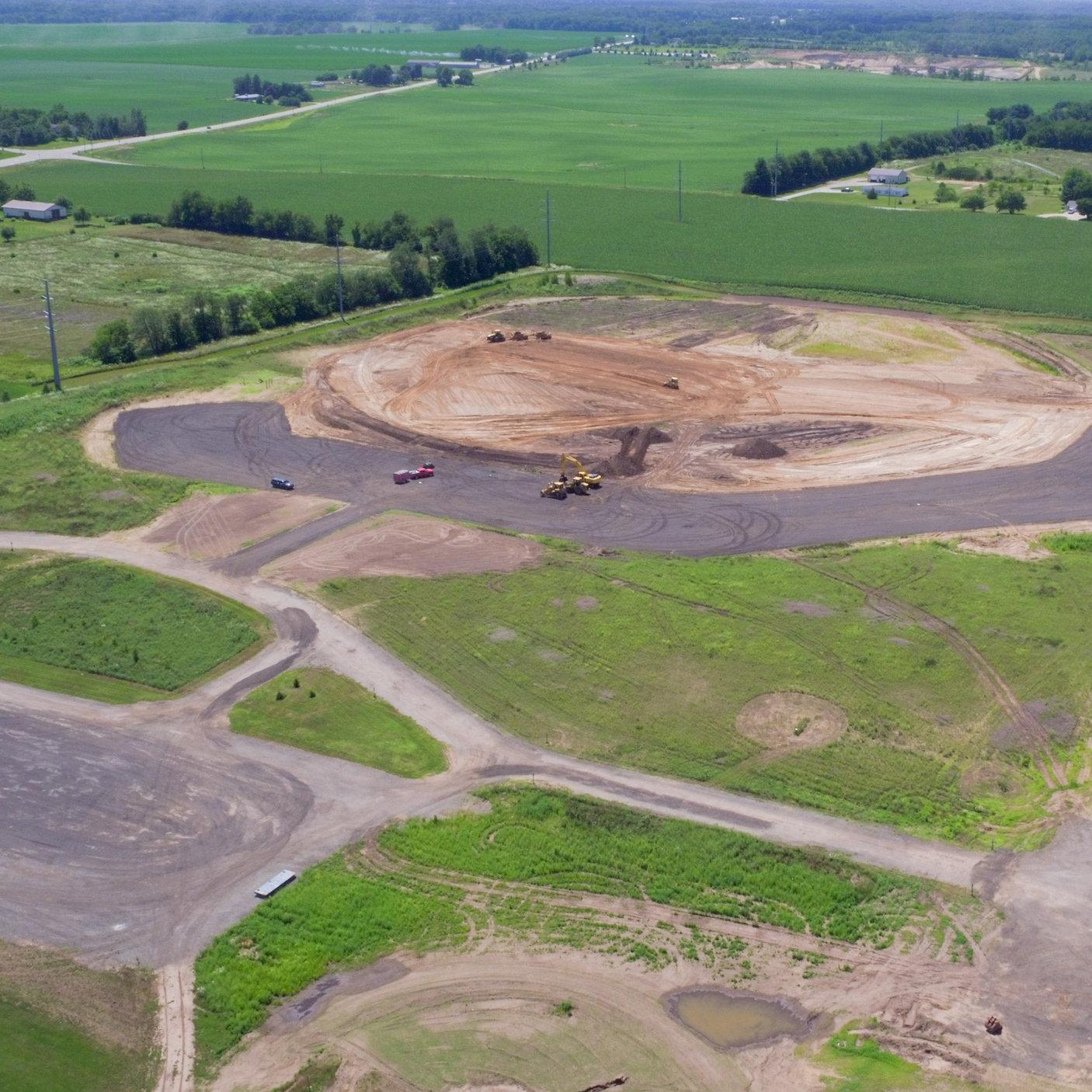 Excavation work begins on four baseball/softball fields.