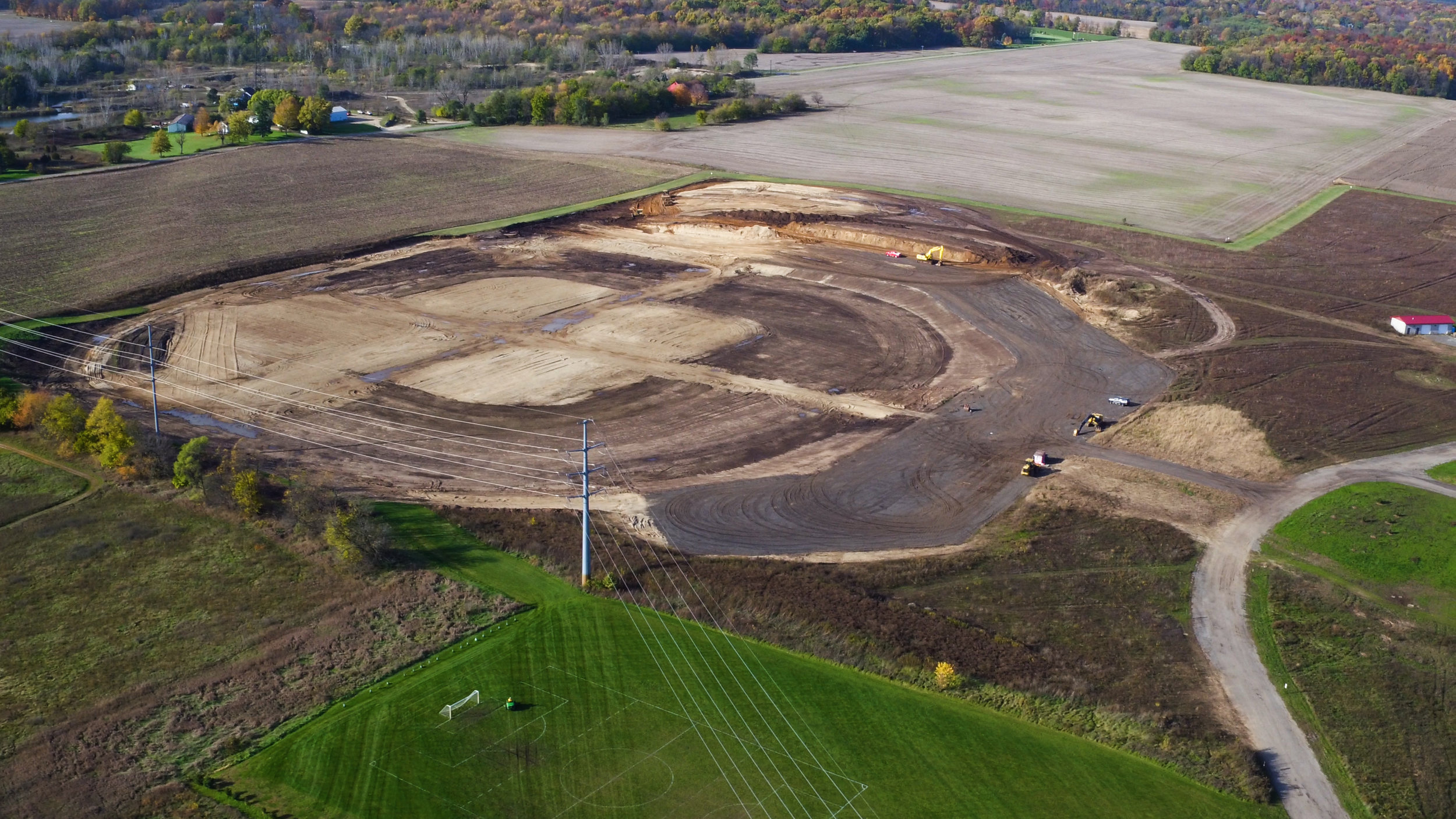 """Excavation begins on the Complex's first """"wagon wheel"""" of baseball & softball fields, November 2017."""