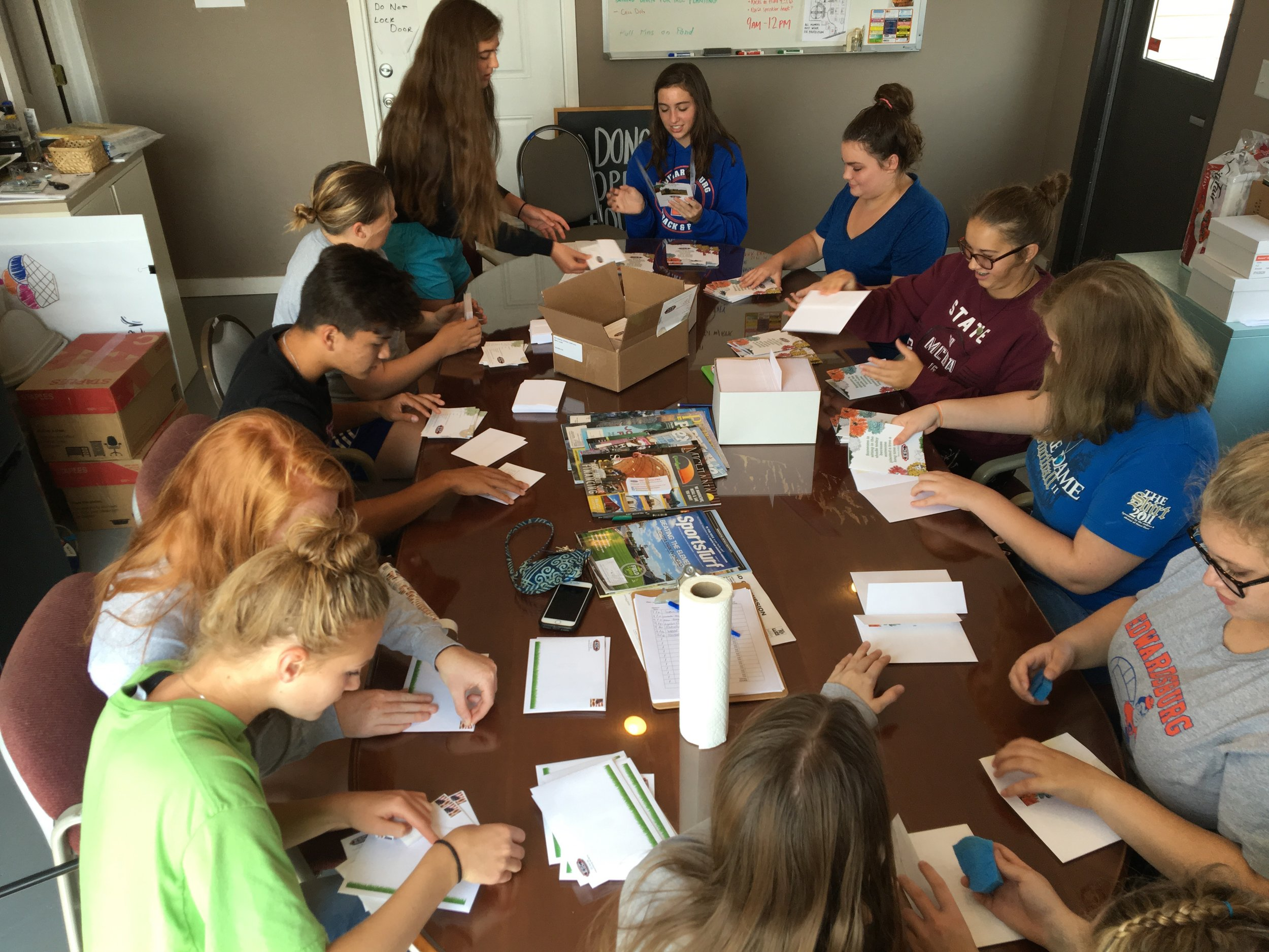 Youth Council prepares fundraising mailings, Fall 2017.
