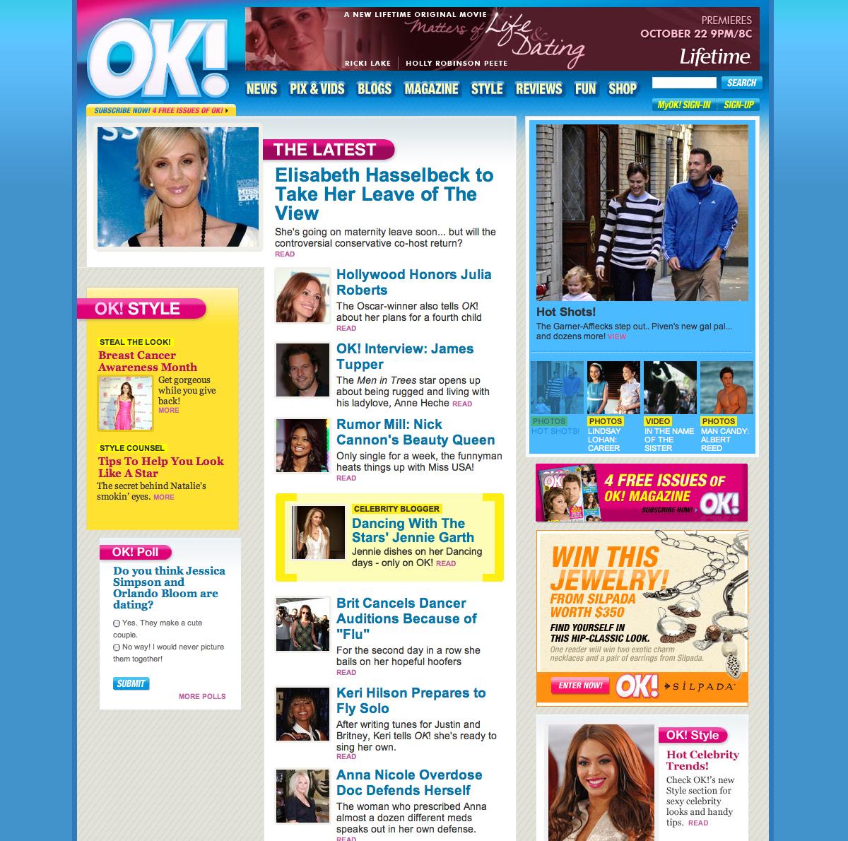 Site design for OK! USA (R.I.P.)