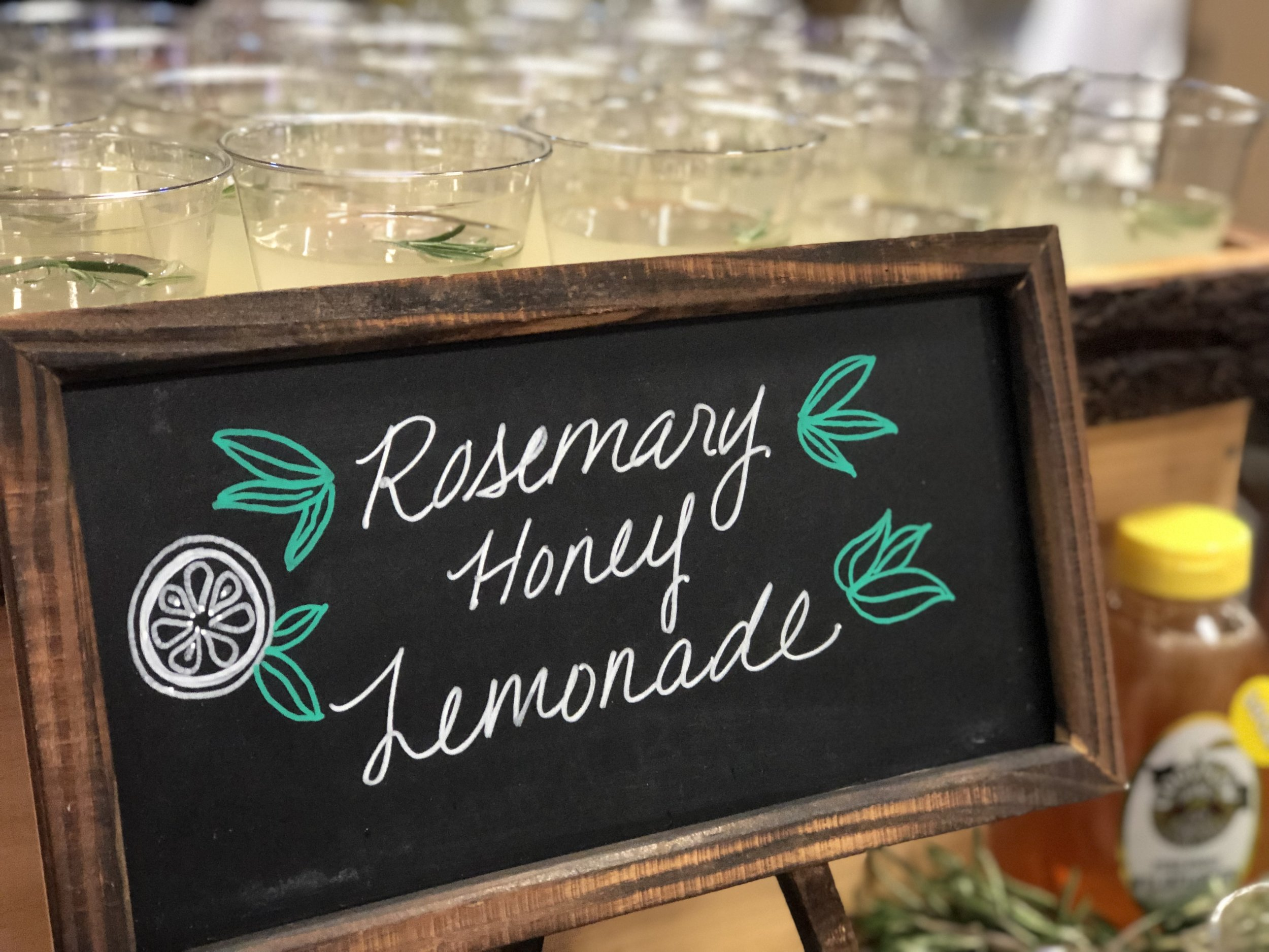 Custom home squeezed lemonade made with fresh rosemary and local honey.