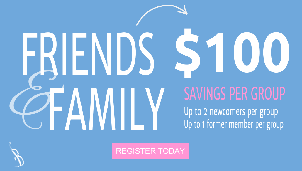 Receives $100 off when you join a VPOPS ensemble together with a friend. All you have to do is register and pay together!    Limited to groups of 2. Applicable for 2 newcomers or 1 newcomer with 1 former member only. 2 former members cannot participate together in this deal. Valid for same ensemble only. Discount limited to one unique pair per term. Cannot be combined with VIP rates, annual rates, or any other discounts or promotions.
