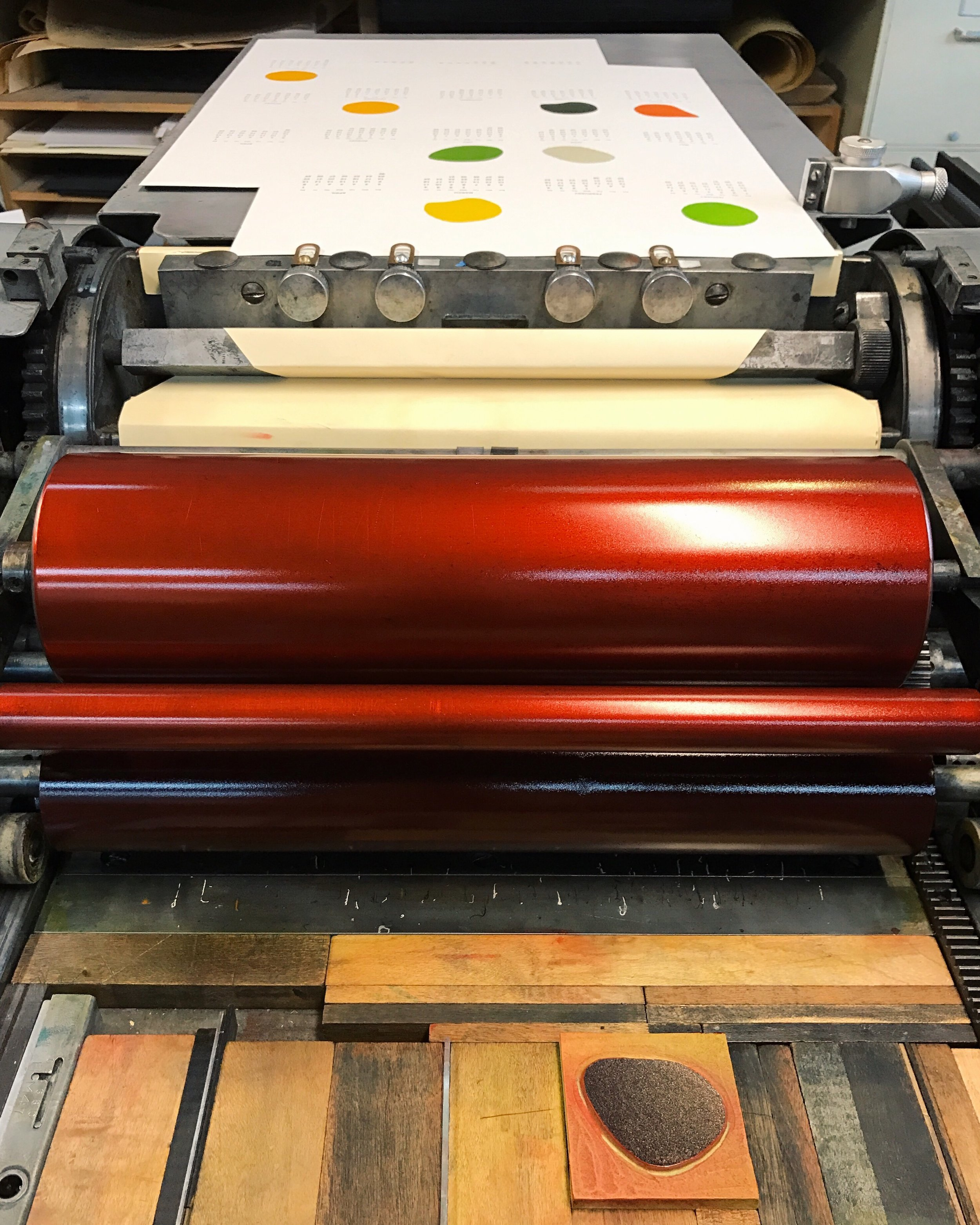Printing a red February from a wood block