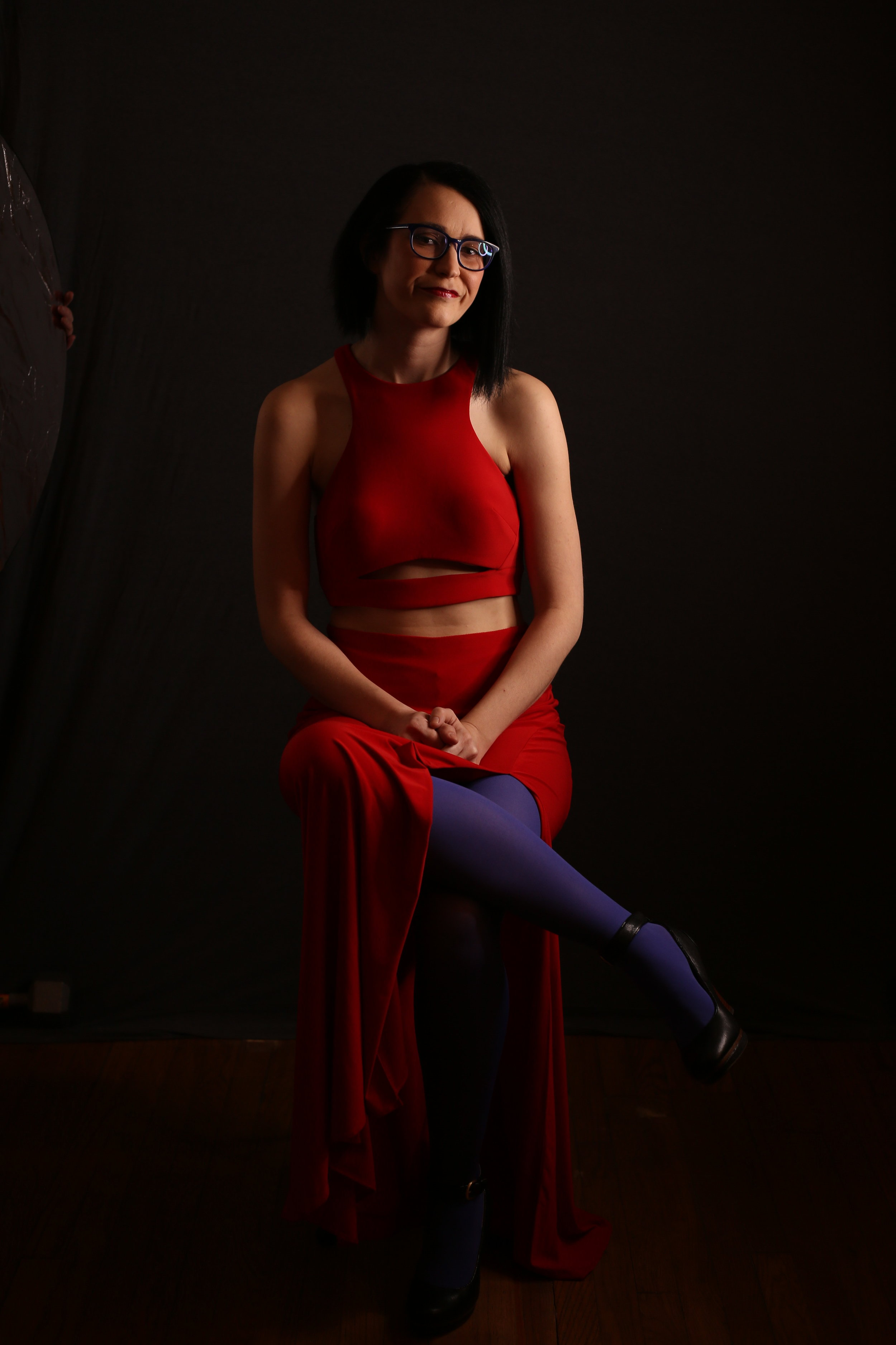 Red Dress with Glasses and Shoes.JPG
